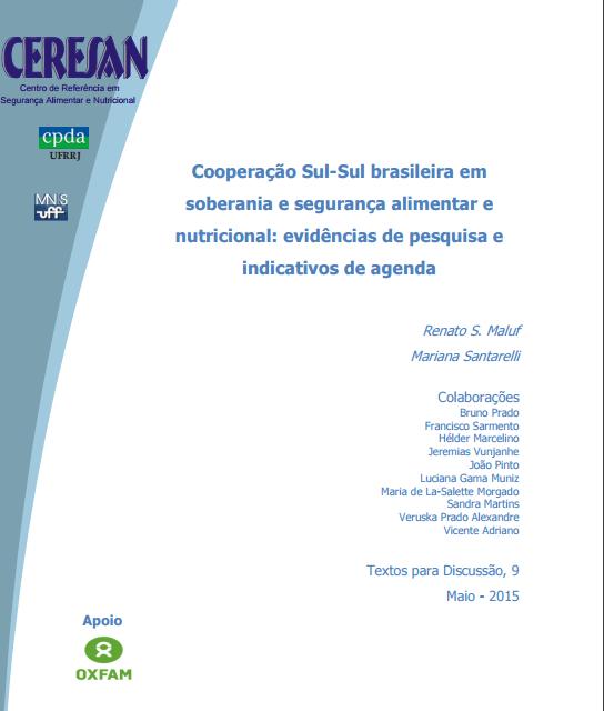 Cooperação Sul-Sul brasileira em soberania e segurança alimentar e nutricional - capa